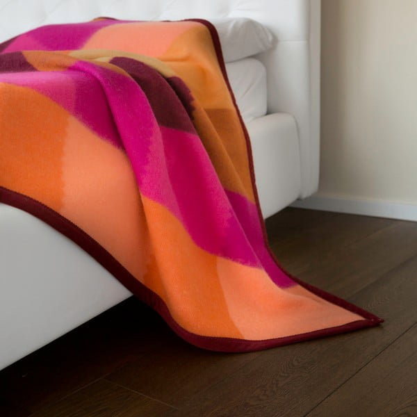 Vlněný pléd Emilia 210x250 cm, oranžový
