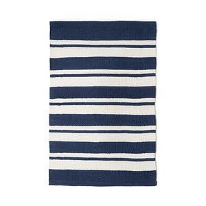Modrý bavlněný ručně tkaný koberec Pipsa Navy Stripes, 60x90 cm