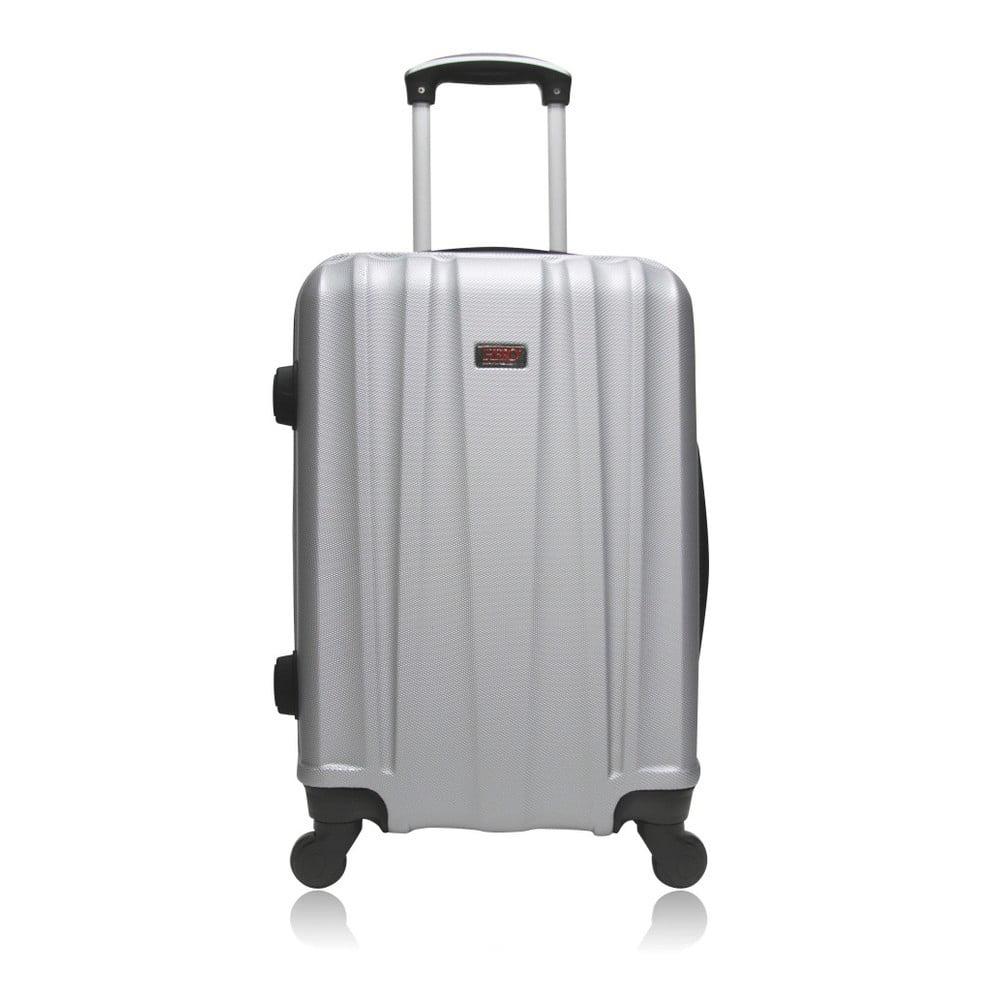 Cestovní kufr na kolečkách stříbrné barvy Hero Journey, 36 l