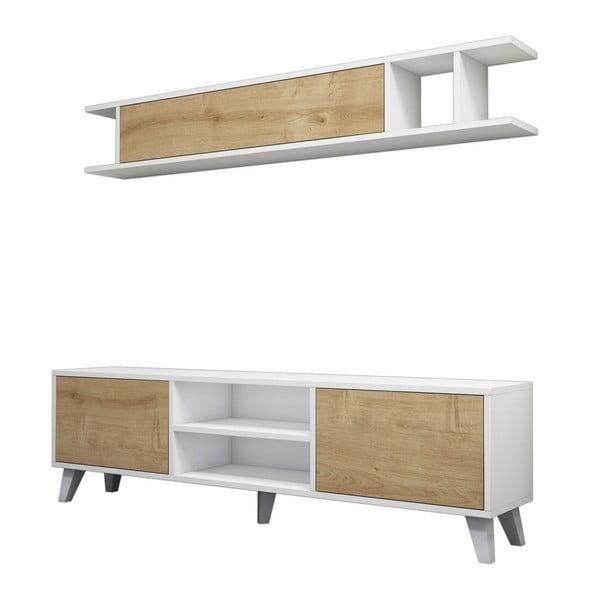Komplet białej szafki pod TV i półki z detalami z dekorem drewna sosnowego Muzzo Italo