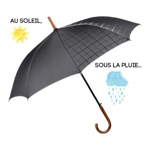 Deštník Ambiance Fare Black Wet Look, ⌀105cm