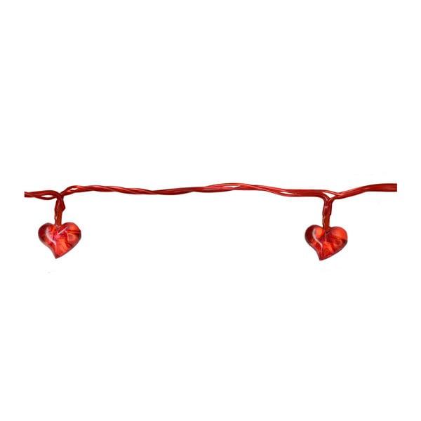 Světelný LED řetěz Best Season Red Hearts, 135 cm