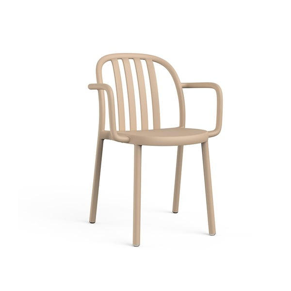 Zestaw 2 piaskowobrązowych krzeseł ogrodowych z podłokietnikami Resol Sue