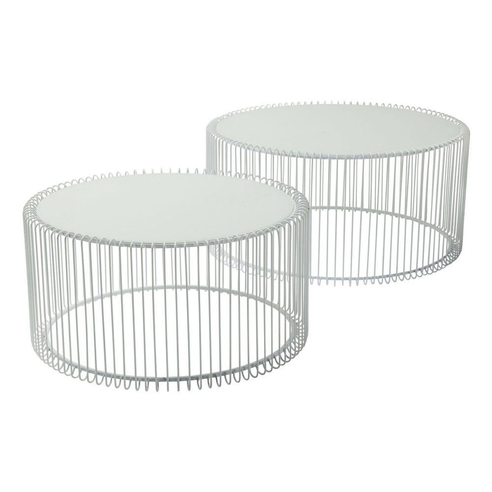 Sada 2 bílých odkládacích stolků Kare Design Wire Big