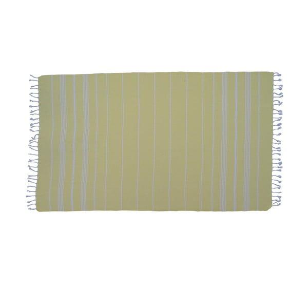 Žlutá ručně tkaná osuška z prémiové bavlny Homemania Sultan Hammam,100x180 cm