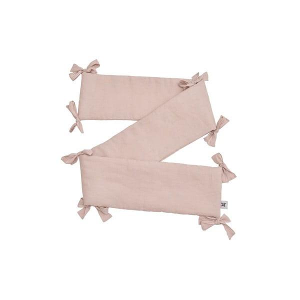 Protecție din in pentru pătuț BELLAMY Dusty Pink, 23,5 x 198 cm, roz