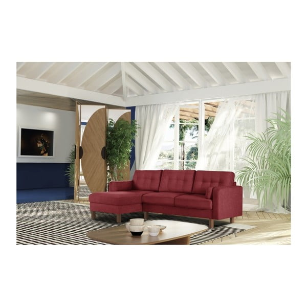 Tmavě červená pohovka s lenoškou na levé straně Stella Cadente Maison Lagoa