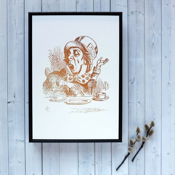 Plakát v dřevěném rámu Alice in Wonderland Mad Hatter