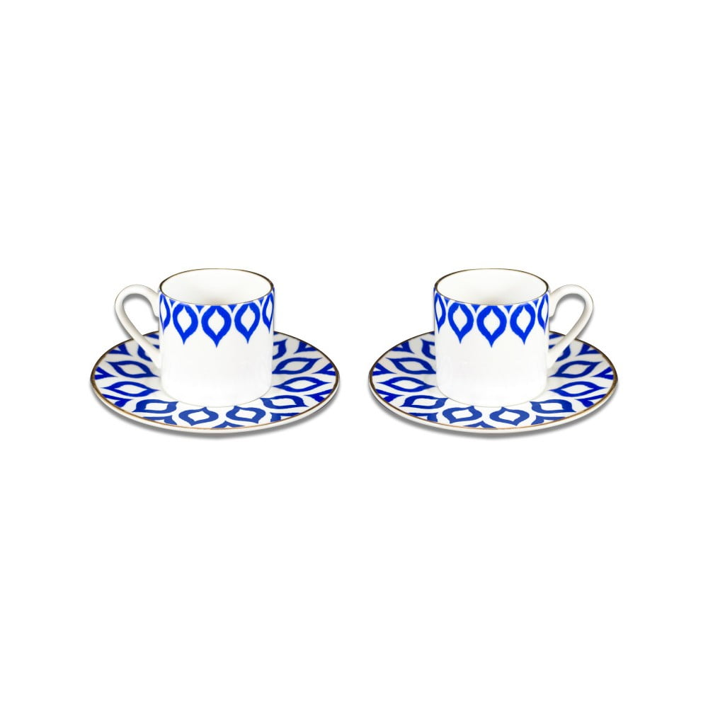 Sada 2 porcelánových šálků s podšálky Vivas Ikat, 330ml