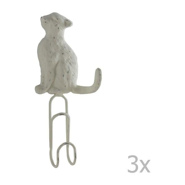 Zestaw 3 białych metalowych haczyków ściennych Geese Cat
