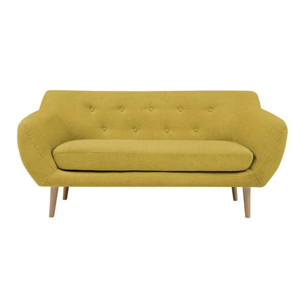 Žlutá dvoumístná pohovka se světlými nohami Mazzini Sofas Sicile