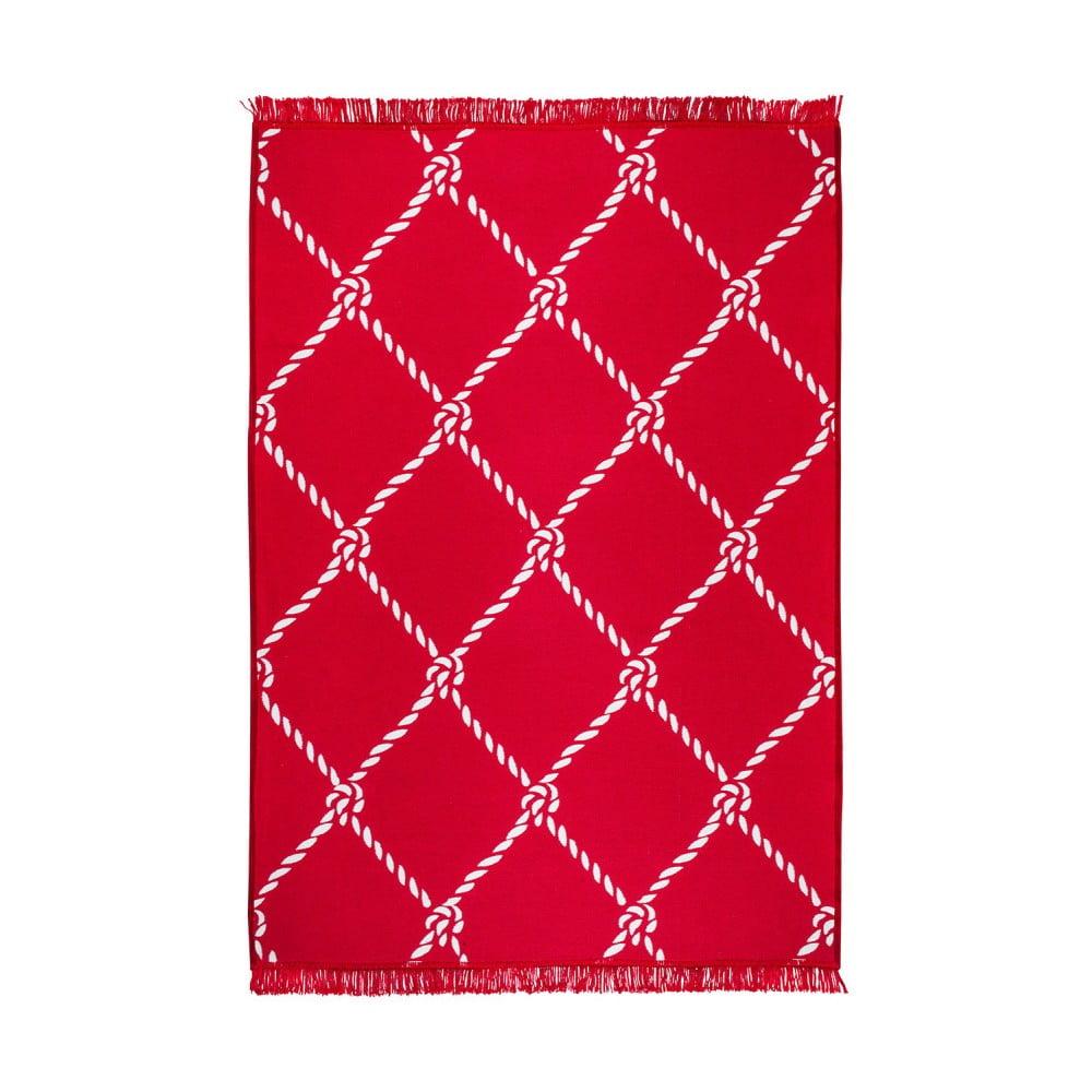 Červeno-bílý oboustranný koberec Rope, 80 x 150 cm
