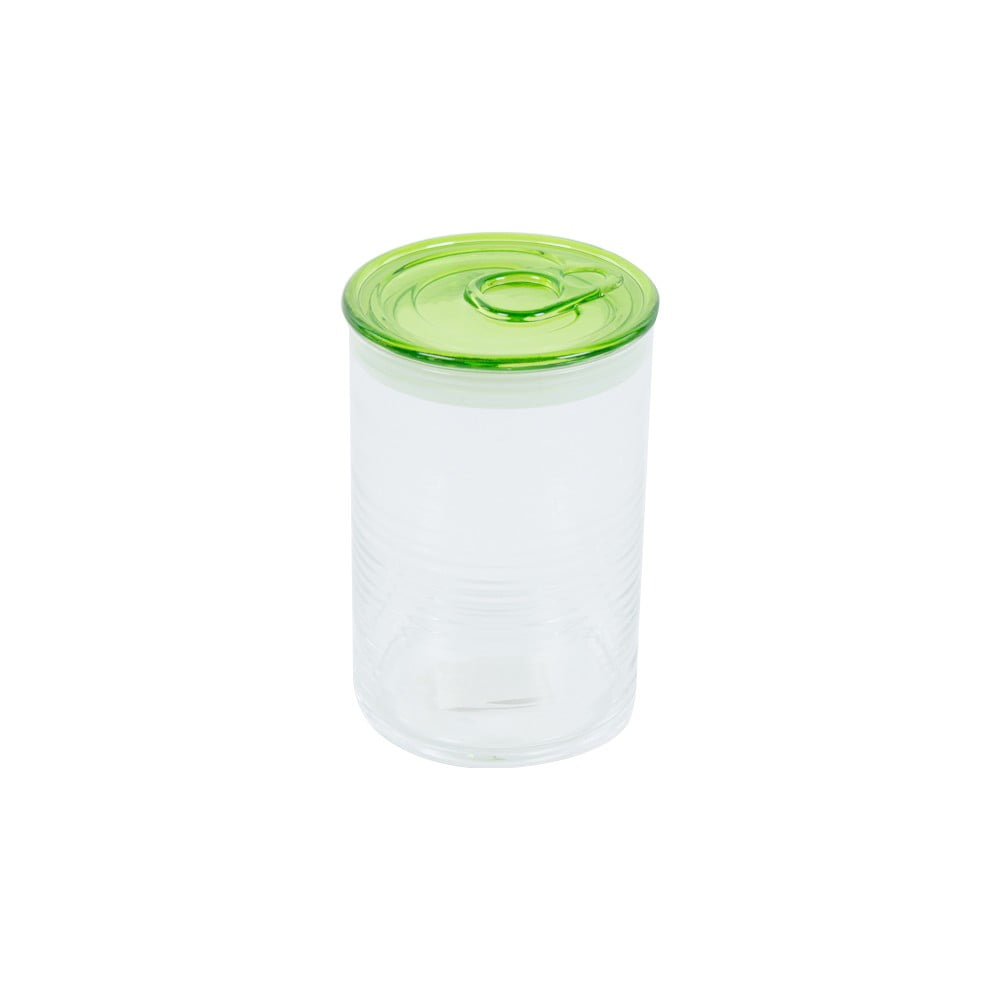 Skleněná dóza se zeleným víkem Kaleidos Can, 10,5x16cm