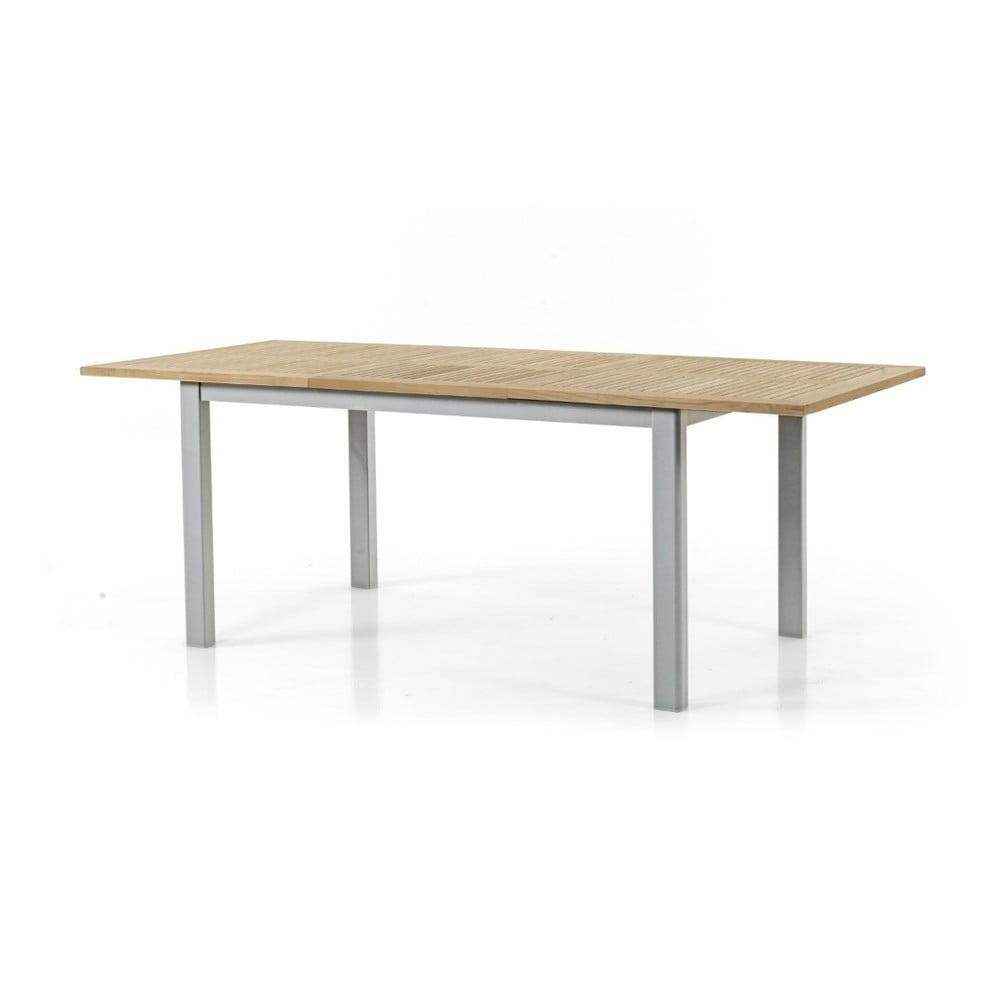 Teakový zahradní stůl s šedým podnožím Brafab Lyon, 152 x 92 cm