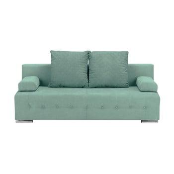 Canapea extensibilă cu 3 locuri și spațiu pentru depozitare Melart Suzanne verde mentol