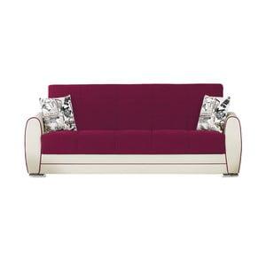 Canapea extensibilă de 3 persoane cu spaţiu de depozitare, Esidra Rest, roz - crem