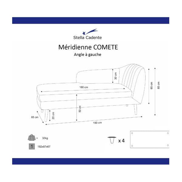 Canapea șezlong cu cotieră pe partea stângă Scandi by Stella Cadente Maison Louge, gri