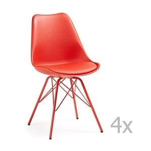 Sada 4 červených jídelních židlí s kovovým podnožím La Forma Lars
