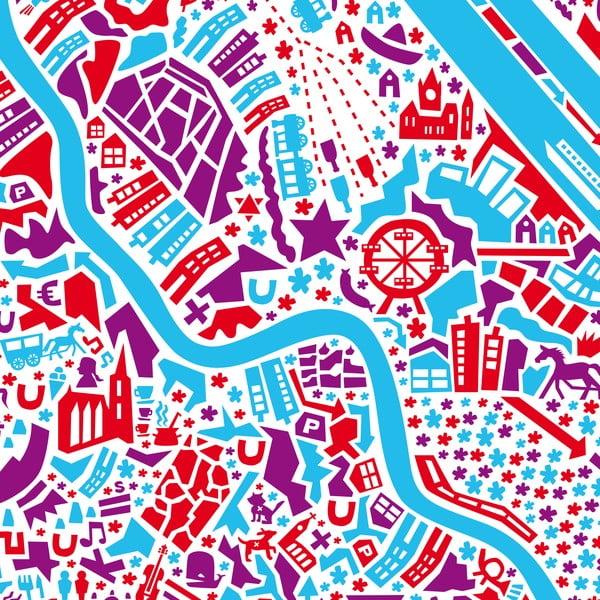 Nástěnná mapa Vídeň, 100x70 cm