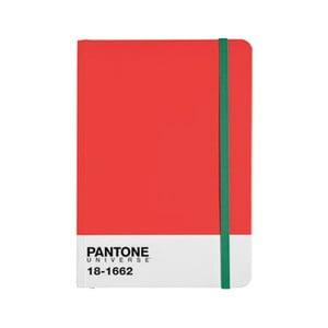 Zápisník s barevnou gumičkou Flame Scarlet/Poison Green 18-1662