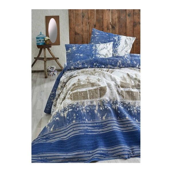 Tmavě modrý lehký přehoz přes postel Pusula, 200x235cm