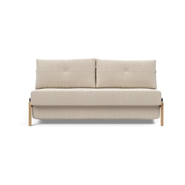 Šedobéžová rozkládací pohovka Innovation Cubed Wood Linen Sand Grey, 96x167cm