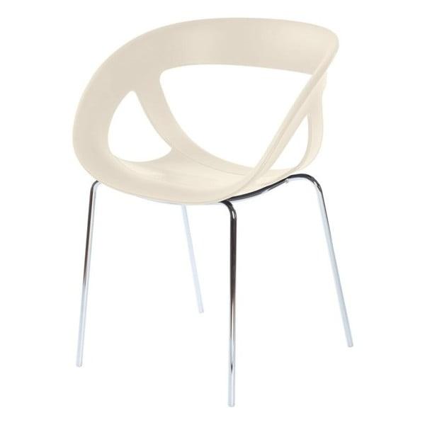 Set 2 béžových židlí Moema, chromové nohy