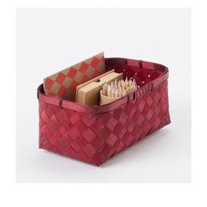 Červený bambusový úložný koš Compactor Hanoi, 23x15cm