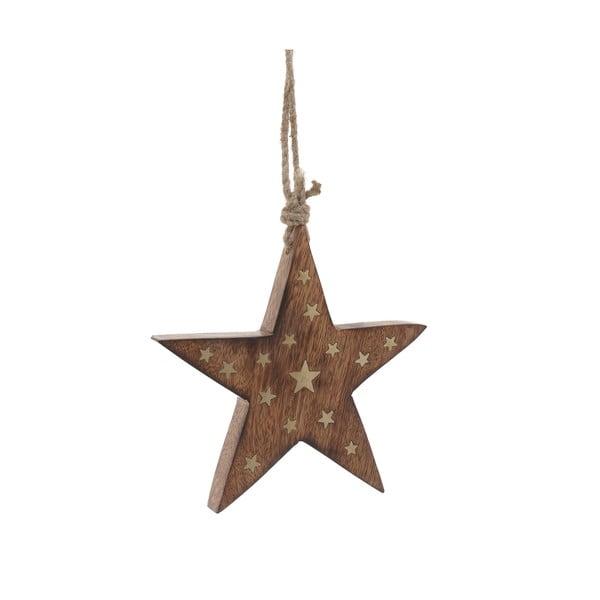 Vánoční dřevěná závěsná dekorace ve tvaru hvězdy InArt Stefano