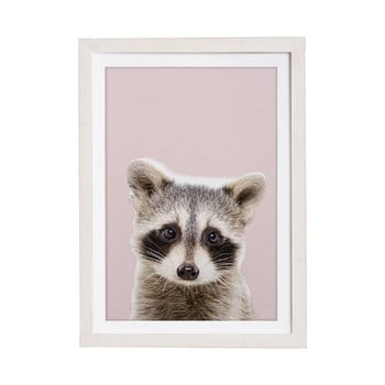 Tablou cu ramă pentru perete Querido Bestiario Baby Racoon, 30 x 40 cm