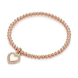 Dámský náramek v barvě růžového zlata Tassioni Heart & Pearls