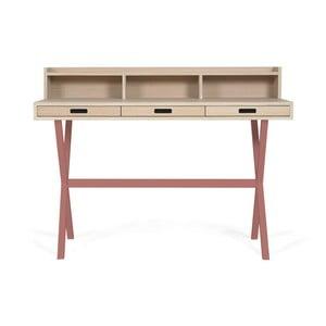 Pracovní stůl z dubového dřeva s růžovými kovovými nohami HARTÔ Hyppolite, 120x55cm