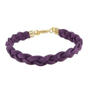 Náramek Suede braided gold, purple