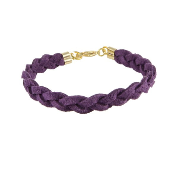 Náramek Suede braided gold, purple