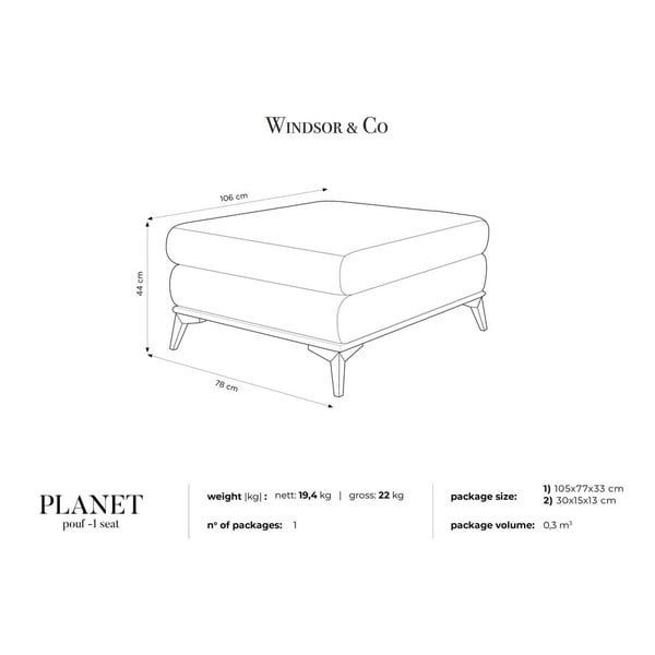 Béžový puf Windsor & Co Sofas Planet