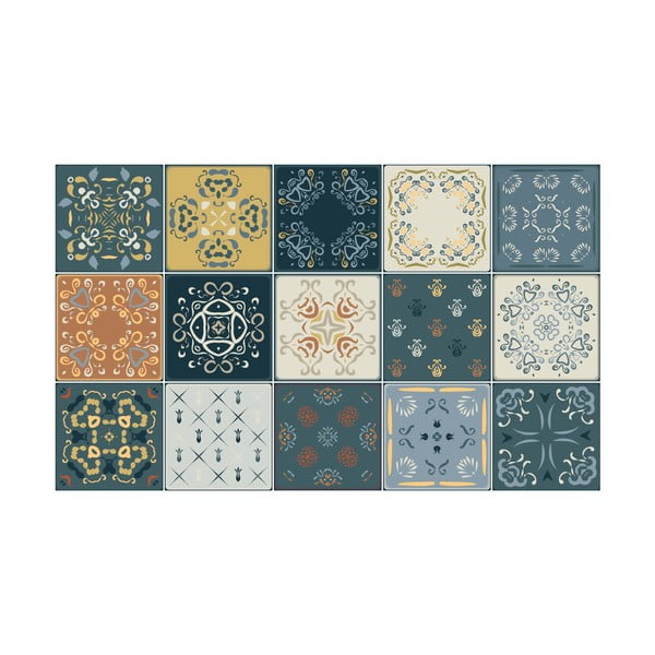 Set 15 autocolante de perete Ambiance Tiles Azulejos Rio Cuarto, 15 x 15 cm