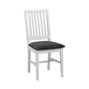 Bílá březová jídelní židle s šedým sedákem Rowico Koster