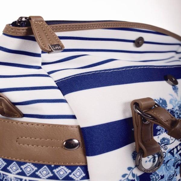 Modro-bílá kabelka Lois, 29 x 22 cm