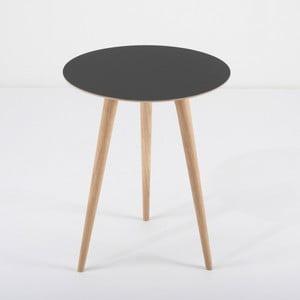 Příruční stolek z dubového dřeva s černou deskou Gazzda Arp, Ø45cm