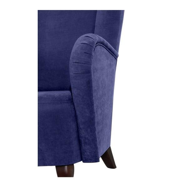 Modré křeslo ušák Max Winzer Aurora Velor