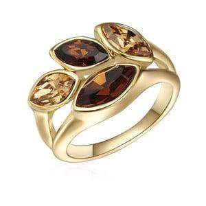Prsten ve zlaté barvě s krystaly Swarovski Saint Francis Crystals Autumn Leaf, vel.60
