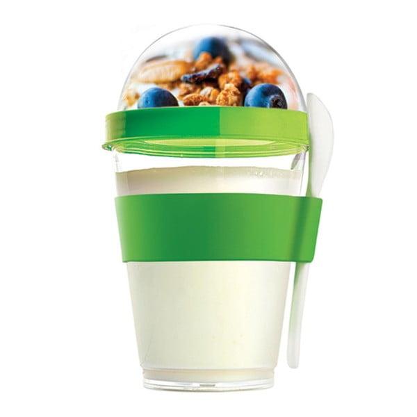 Zelený svačinový kelímek Asobu Yo2GO, 360 ml