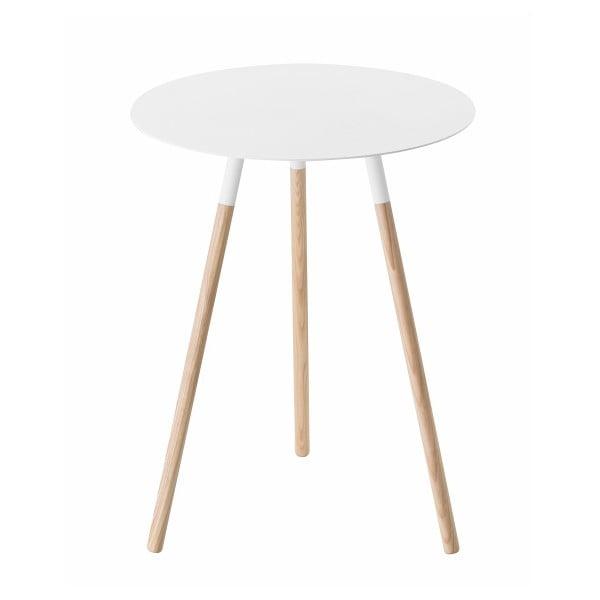 Bílý stolek s nohami z bukového dřeva YAMAZAKI Tosca