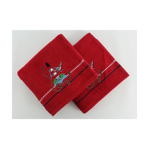 Sada 2 ručníků Marina Red Feneri, 50x90 cm