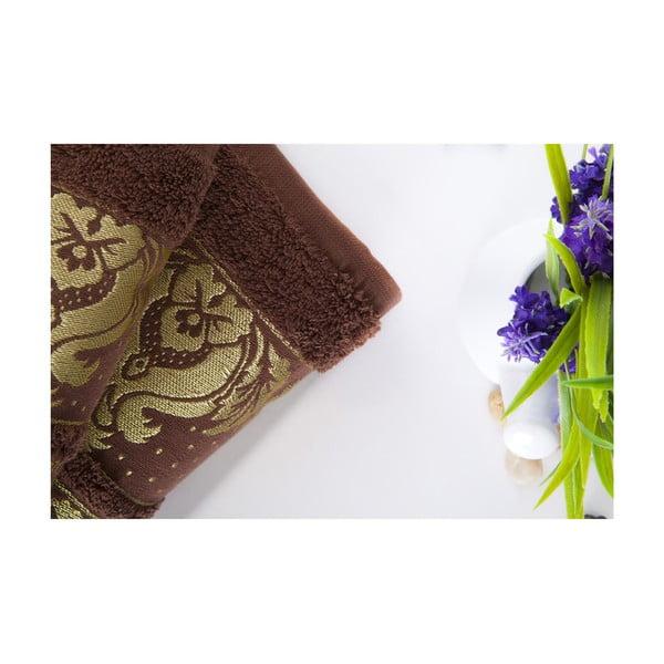 Set dvou ručníků Antik Gold Dark Brown, 70x140 a 50x90 cm
