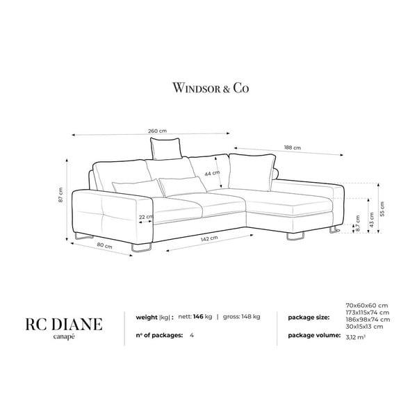 Béžová rozkládací rohová pohovka se sametovým potahem Windsor & Co Sofas Diane, pravýroh