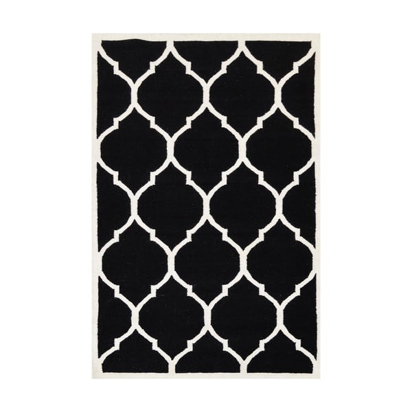 Vlněný koberec Lara, 60x90 cm, černý