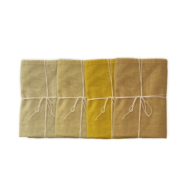 Beige 4 db szövet szalvéta lenkeverékkel, 43 x 43 cm - Linen Couture