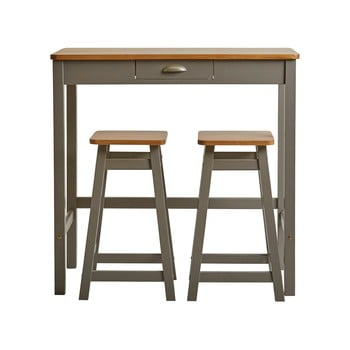 Masă tip bar cu 2 scaune din lemn masiv de pin Marckeric Caya, gri imagine