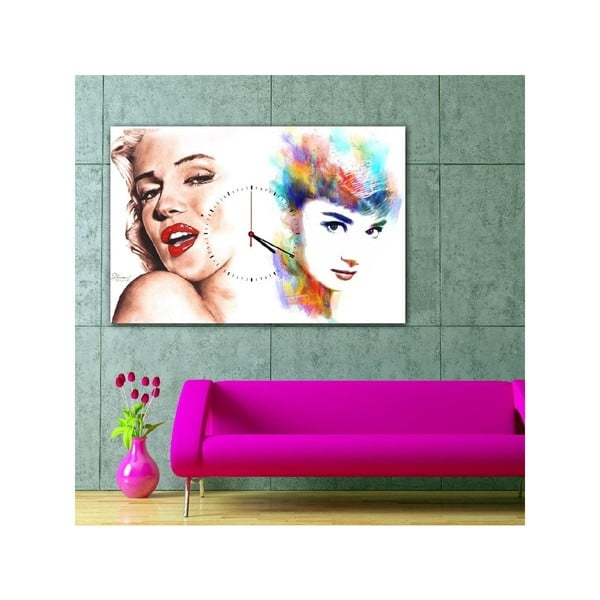 Obraz s hodinami Marilyn a Audrey, 60x40 cm